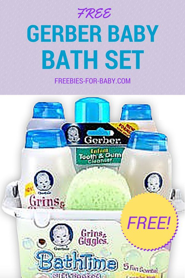 FREE Gerber BathTime Gift Set  - The set includes; Gerber Grins & Giggles baby bath, baby wash, baby lotion, baby powder, a bath sponge, plus Gerber tooth & gum cleanser. Go Here => http://freebies-for-baby.com/2294/free-gerber-baby-bath-set/ FEEL FREE TO REPIN this freebie! :)