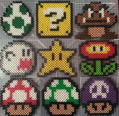 Mario | Boo | Goomba | Fire Flower | One-Up Mushroom | Yoshi Egg in handmade perler beads