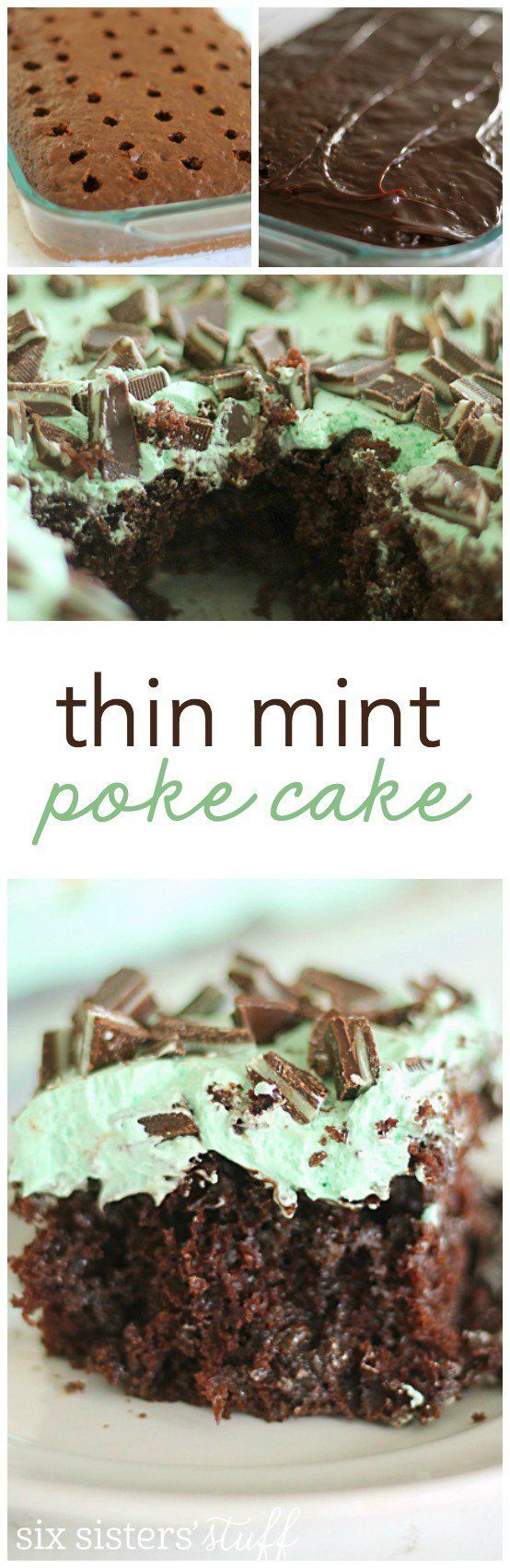 Thin Mint Poke Cake from SixSistersStuff.com | Chocolate Cake smothered in hot fudge, creamy mint frosting and andes mints. This is one dessert you do not want to miss! | Best Dessert Ideas | Easter Dessert