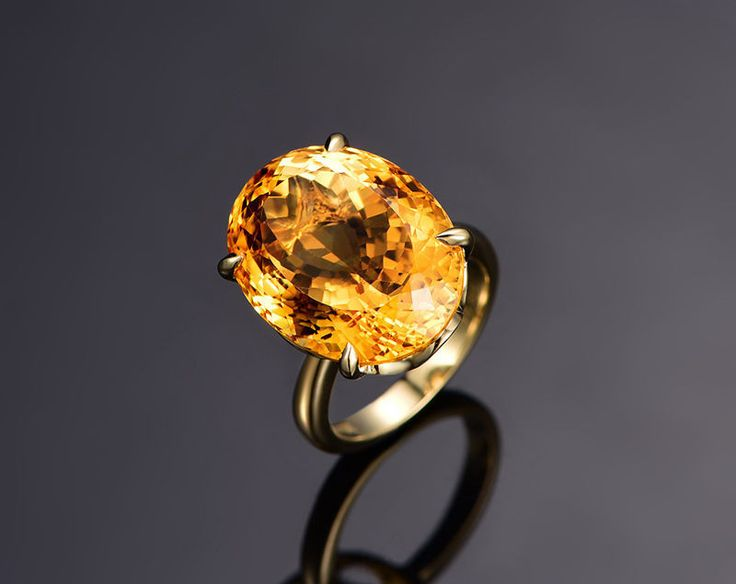 $499 Oval Citrine Engagement Ring 14x18mm 14K Yellow Gold Solitaire