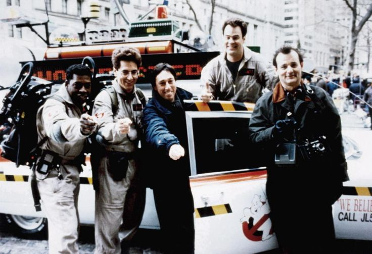 """Who you gonna call? Ramis, (2nd from l.) appears on the set of """"Ghostbusters"""" with, from left, Ernie Hudson, director Ivan Reitman, Dan Aykroyd and Bill Murray. Ramis also helped to co-write the 1984 blockbuster."""