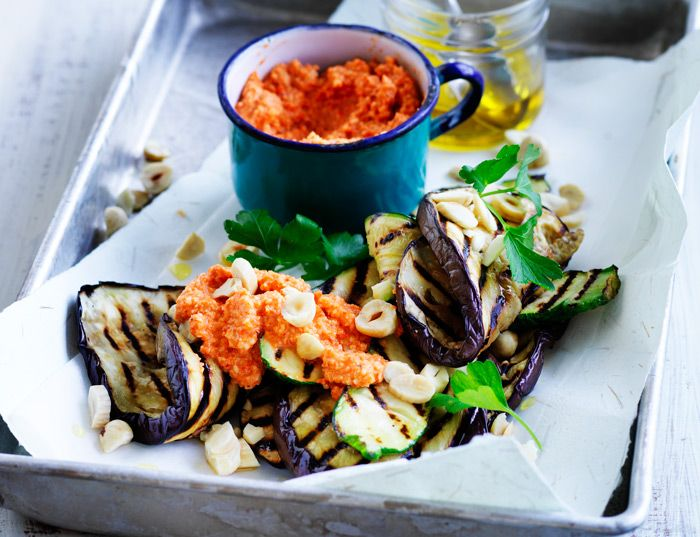 Romesco sauce is made from a mixture of nuts and fire-roasted capsicum. It's much like pesto in texture and makes for a great tomato sauce substitute.