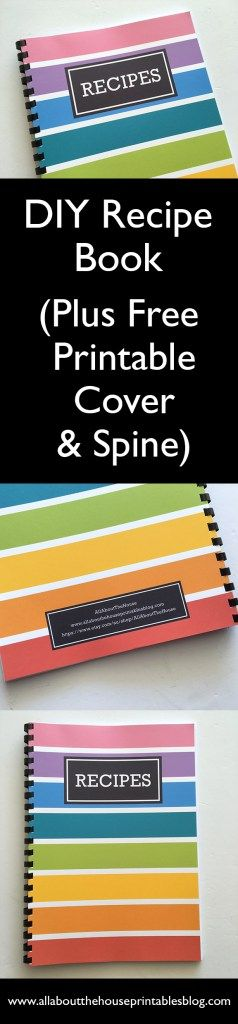 DIY recipe book notebook album organization rainbow color coded editable recipe template card pdf recipe sheet a5 half size binder personalised free printable cooking cookbook http://www.allaboutthehouseprintablesblog.com/how-to-make-a-diy-recipe-book-plus-free-printables/