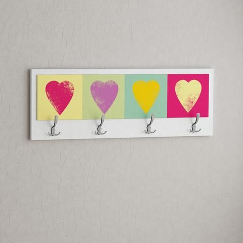 HEARTS. FUNART coat, clothes hanger. Colorful theme. Easy to mount. 2 years warranty. White, Dark Brown, Black, Orange, Yellow Green colours. Contemporary design piece. Hallway furniture. 70%Off real deals. www.modernfurnituredeals.co.uk