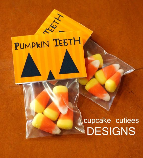Pumpkin Teeth! Cute Halloween treat idea. Packaging would be easy to do. Am so doing this.