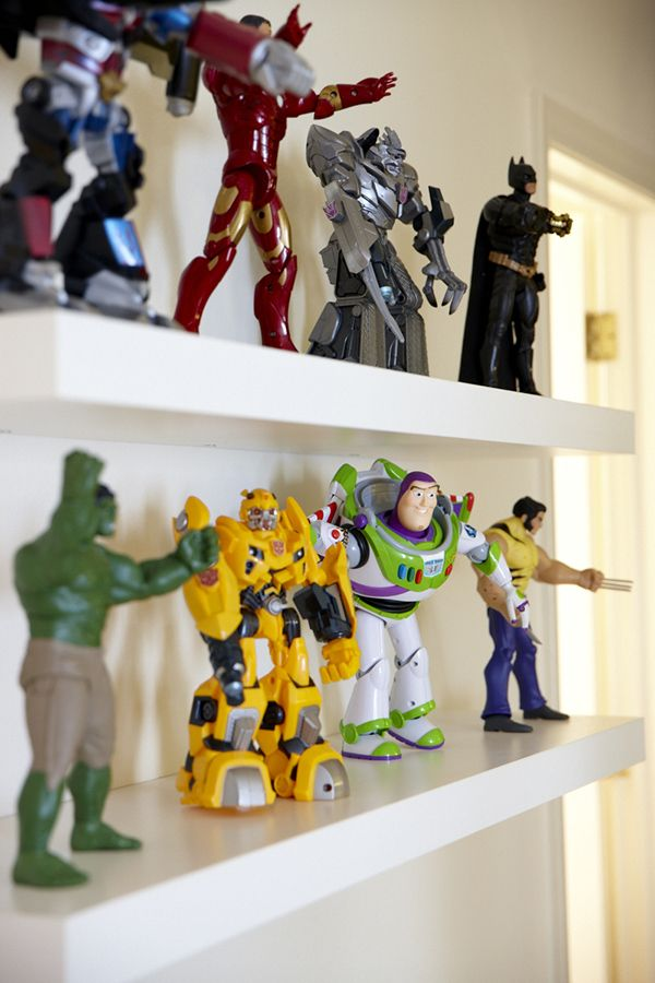 shared boys room via La La Lovely + @Matty Chuah Land of Nod - open shelving for all the action figures - use the wall behind the door