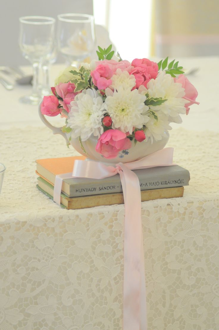 Vintage decoration by Bori Dekor. Old books with flowers