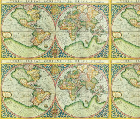38 best fabric images on pinterest christmas fabric cotton fabric antique world map fabric by aftermyart on spoonflower custom fabric gumiabroncs Image collections