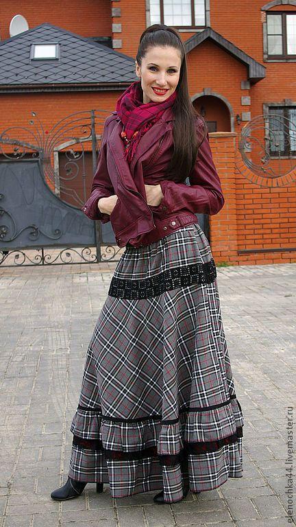 """Купить Длинная юбка """"Венский вальс"""" - тёмно-серый, в клеточку, юбка, юбка длинная"""