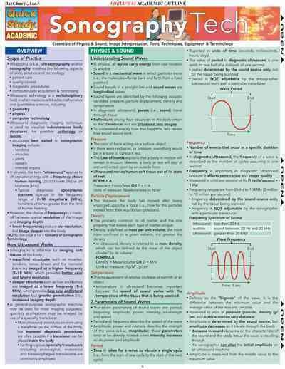 Sonography Tech Qucik Reference Card