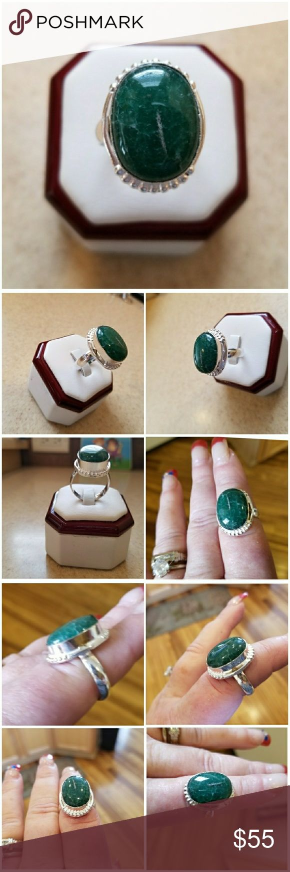 Genuine 6ct Zambian Emerald Ring Size 9.5 Beautiful Natural !Emerald!  Set in 925 stamped Solid Sterling Silver. Please see all pictures for more detail. Brand New. Never Worn. WHOLESALE Prices Always!!! Jewelry Rings