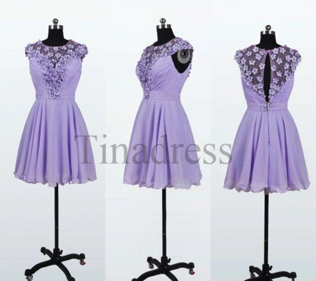 custom lavender short prom dresses bridesmaid dresses 2014