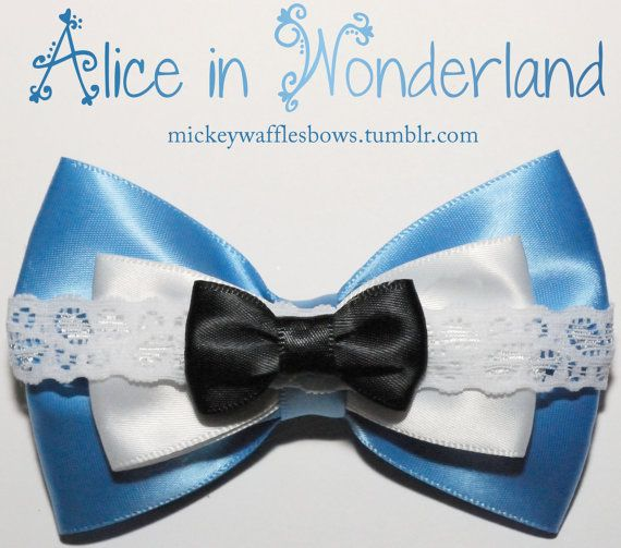 Alice in Wonderland Hair Bow by MickeyWaffles on Etsy