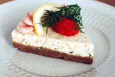 Swedish Skagen cheese cake with roe, dill and shrimp