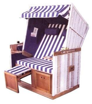 Inspirational Brubaker Sitzer Strandkorb Polyrattan inkl Wechselbez gen Blau Wei Luxus Schutzh lle