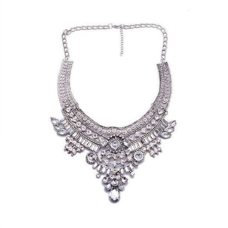 Fashion Statement Necklace - Yasmina Tribal Maxi Necklace With Bead Alloy & Crystals