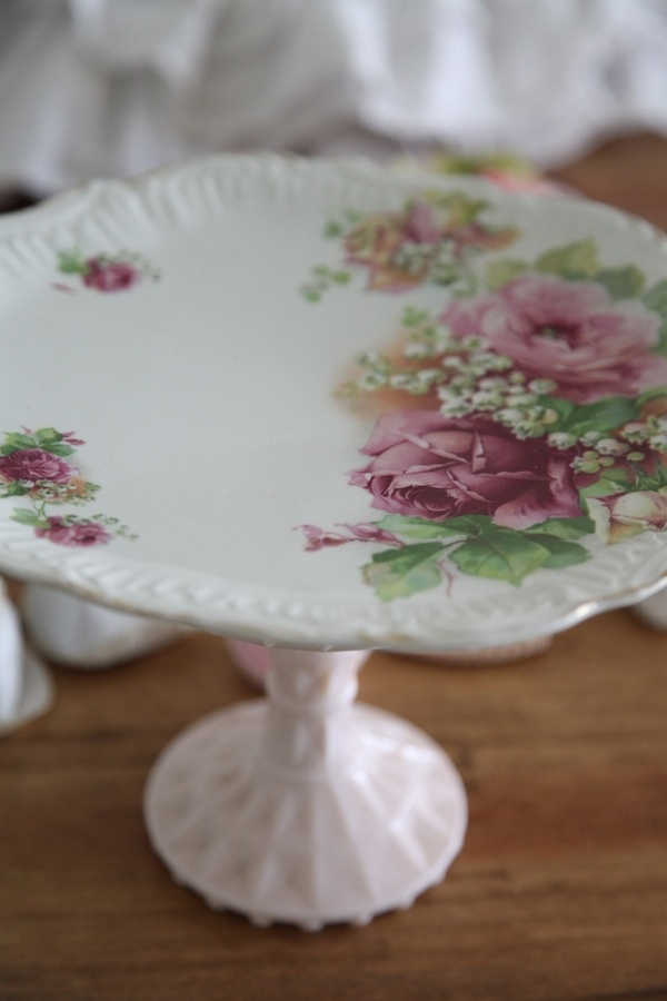 Beautiful Roses...Large Shabby Chic Dessert Stand