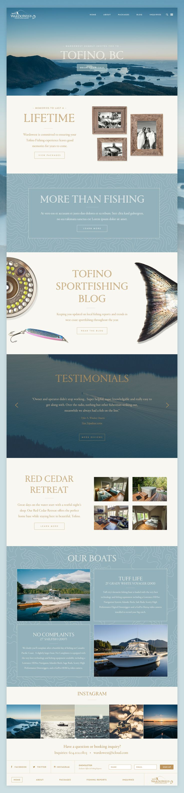 Wardowest full retina panels web design blue light blue navy fishing classic traditional responsive fly masculine website
