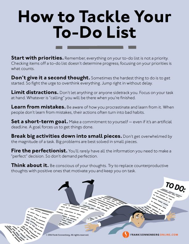 8 Ways to Tackle Your To-Do List I Values to Live By I www.FrankSonnenbergOnline.com