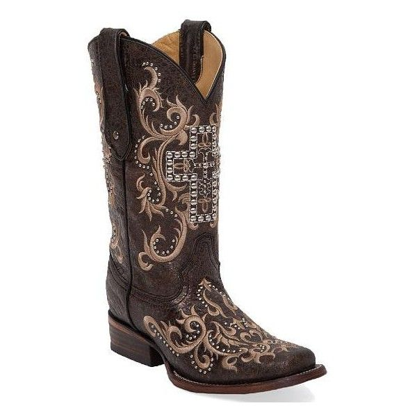 Corral Cross Square Toe Cowboy Boot ($265) ❤ liked on Polyvore featuring shoes, boots, brown, corral boots, square toe cowboy boots, tall cowgirl boots, studded boots y brown cowgirl boots