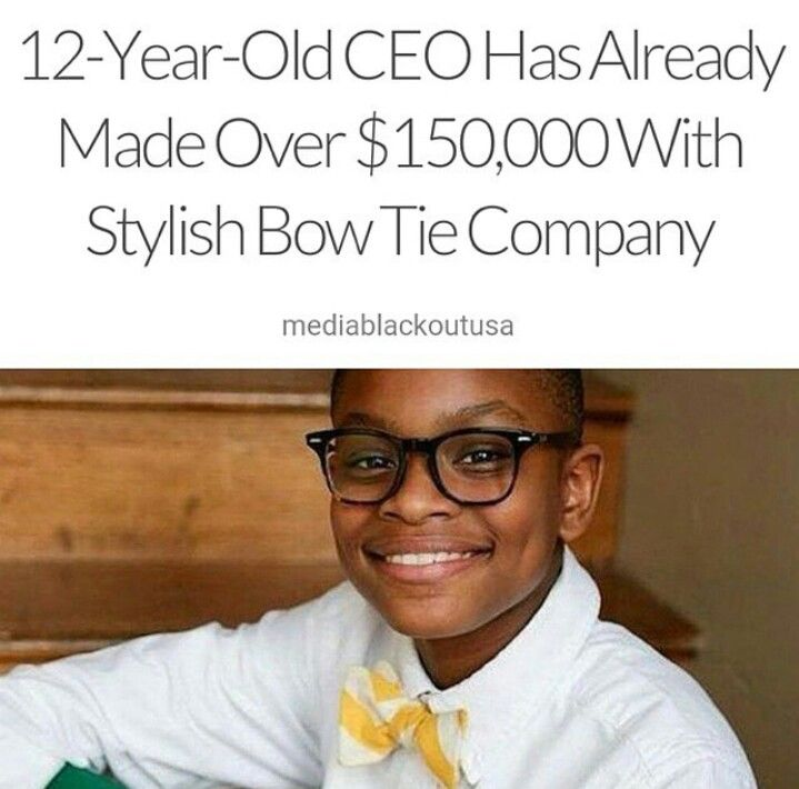 Moziah Bridges, of Memphis, TN has been designing and sewing his own ties since he was nine years old. Bridges chooses the fabrics for his creations himself and is quite particular about the styles. His pieces range from relatively traditional polka-dots and stripes to multi-colored paisley and sports team-themed ties. He has earned over $30,000. He made a bow tie called the Go Mo! Scholarship Bow Tie and 100 percent of the proceeds go to help kids go to summer camp.