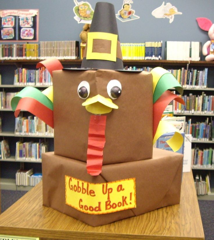 turkey book display | This is an awesome turkey display I created using two cardboard boxes ...