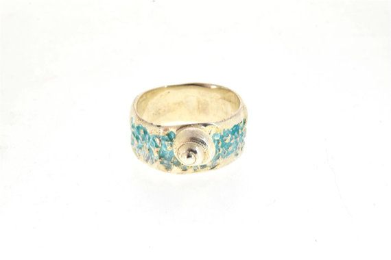 Silver Ring, Beach Ring, Turquoise Enamel Ring, Sea snail Ring, Turquoise Ring, Summer Jewelry, Silver Jewelry, Enamel Jewelry, Conch Ring