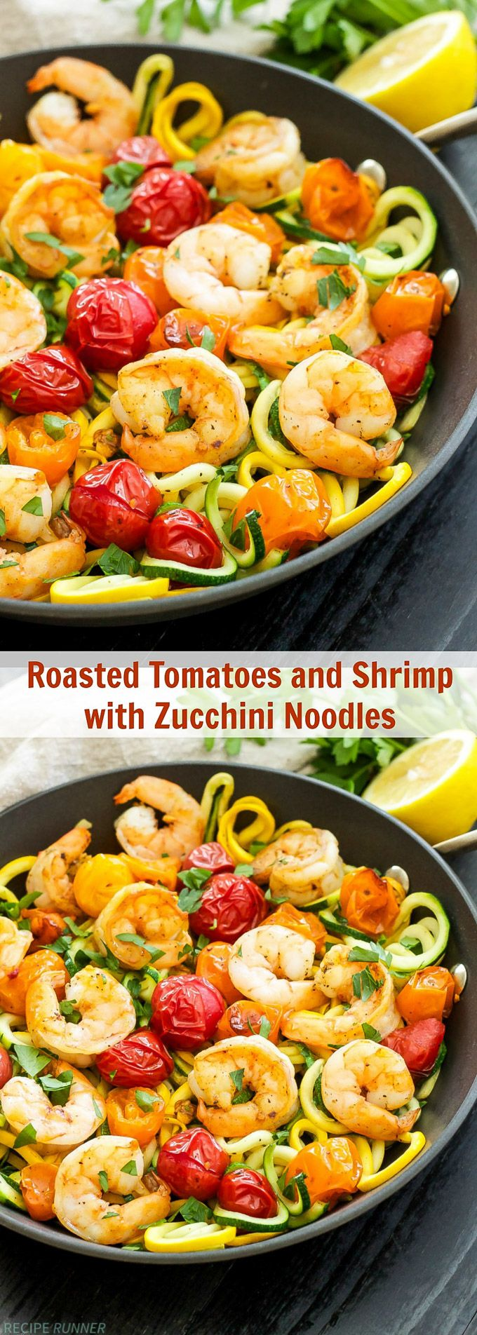 Roasted Tomatoes with Shrimp and Zucchini Noodles | One of my favorite, easy to make dinners! Simple ingredients, gluten-free, Paleo and Whole30 compliant!