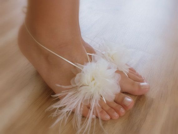 ivory Beach wedding barefoot sandals FREE by WEDDINGGloves on Etsy, $35.00