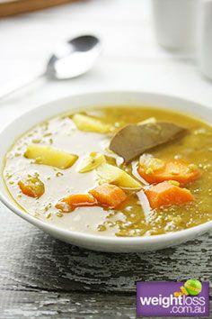 Healthy Soup Recipes: Vegetarian Split Pea Soup. #HealthyRecipes #DietRecipes #WeightlossRecipes weightloss.com.au