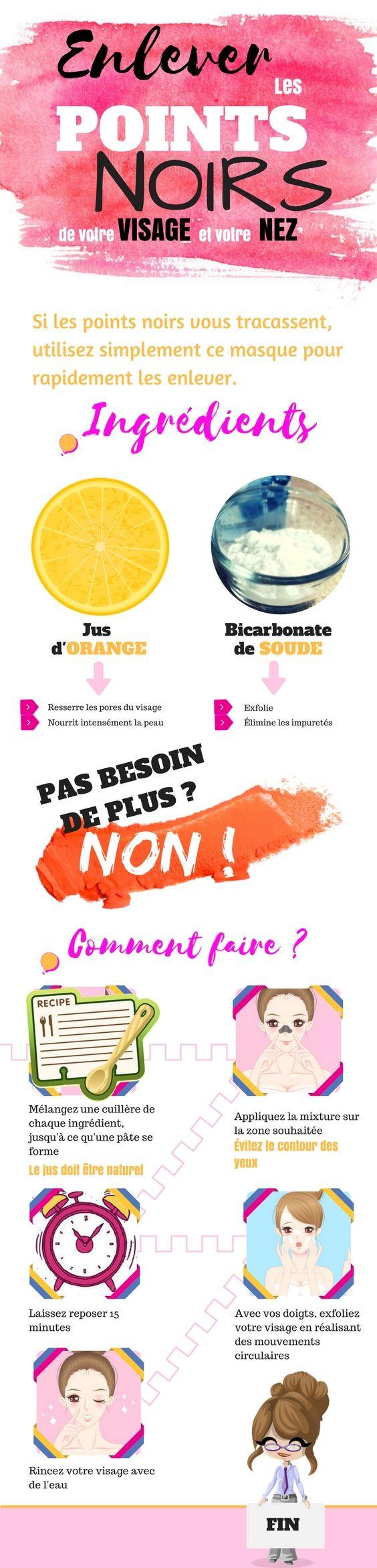 Aujourd'hui, nous allons partager avec vous un masque simple (mais puissant) pour vous aider à vous débarrasser de vos points noirs. Vous avez juste besoin de jus de citron et de bicarbonate de soude. Appliquez ce maque pendant 15 minutes, puis rincez votre visage à l'eau. Vous pouvez faire ce masque jusqu'à trois à quatre fois par semaine. Voici une infographie vous expliquant comment faire. #astuces #astucesbeaute #pointsnoirs #visage #nez #peau #enleverlespointsnoirs