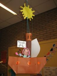 www.jufjanneke.nl   Piratenboot van A4 papier