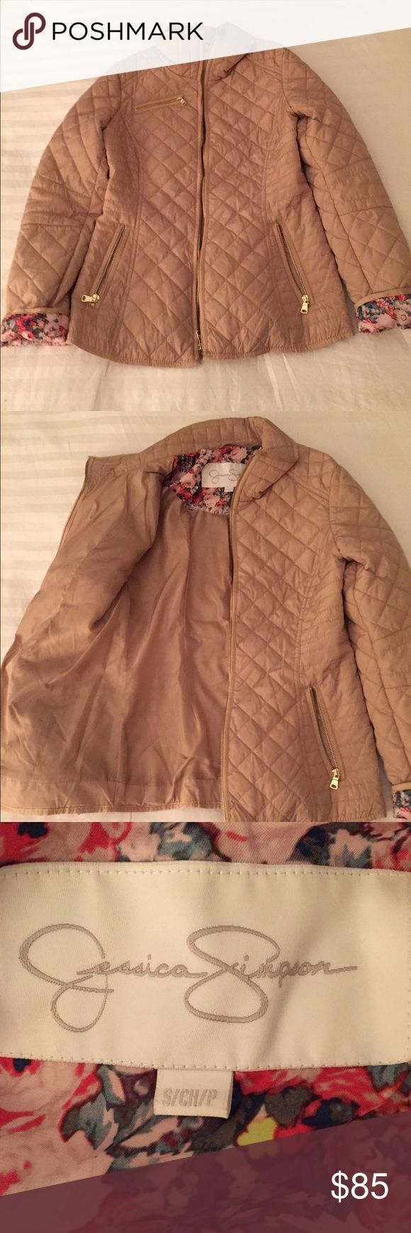 Small Jessica Simpson Beige Quilt stitched jacket Small Jessica Simpson Beige Quilt stitched jacket only worn once Jessica Simpson Jackets & Coats