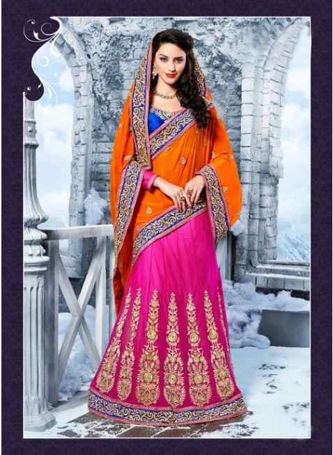 Flamboyant Pink Embroidered #Lehenga #Saree #bridallehenga #ethnicwear #womenfashion #clothing #fashion