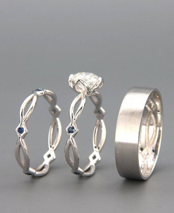 14K White Gold Eternity Wedding Rings Set with Charles & Colvard Moissanite and Sapphire and a match