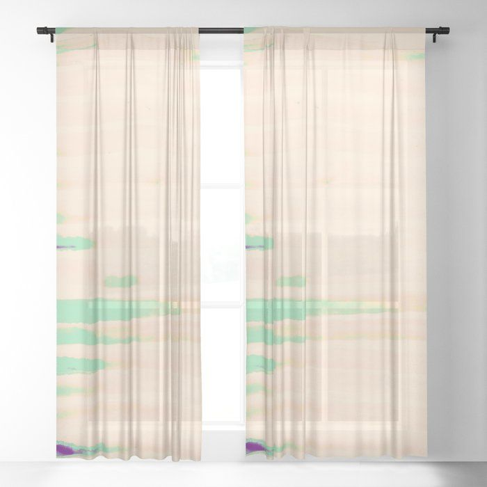 Green Greenery Stripes Sheer Curtain By Anoellejay Society6 Don T Miss Out Bright Bold Blue Green And Pink Artwork And Yellow Home Decor Pink Artwork Decor