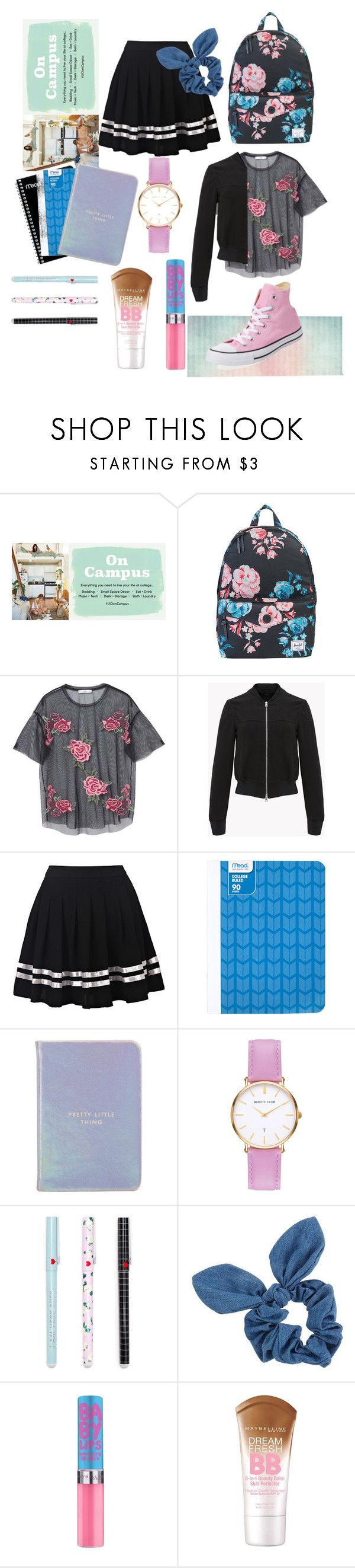 Go to Campus by feliciamia on Polyvore featuring MANGO, Converse, Herschel Supply Co., Abbott Lyon, Dorothy Perkins, Maybelline, Urban Outfitters, Kate Spade and Mead