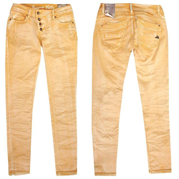 Buena Vista Jeans Malibu mustard - Das Modell Malibu von Buena Vista zeichnet sich durch einen Sitz auf normaler/mittlerer Leibhöhe und durch ein bequemes Bein aus. Da die Jeans zum Fuß hin schmaler wird, kann man sie als Skinny bezeichnen – in ihr werden Ihre feminine Figur und Ihre tollen Beine optimal in Szene gesetzt. Fußweitenumfang: ca. 30 cm, Beinlänge: ca. 32 Inch.  Durch die schöne Waschung und der einzigartigen Optik wird die Malibu mustard zum modischen Hingucker des Labels Buena…
