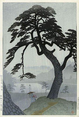 Kinokunisaka in the Rainy Season  by Shiro Kasamatsu, 1938   (published by Watanabe Shozaburo)
