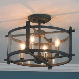 Black Semi Flush Mount Chandelier With Four Bubls , Beautiful Flush Mount Chandelier In Lighting Fixtures
