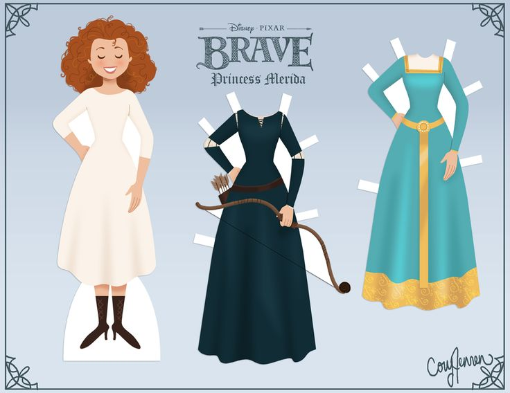 "Welcome Princess Merida to the ""Retro Paper Doll Collection!"" I can't wait for ""Brave!"" It looks like an awesome movie with a wonderful, strong heroine. And she has awesome hair! Merida does not se..."