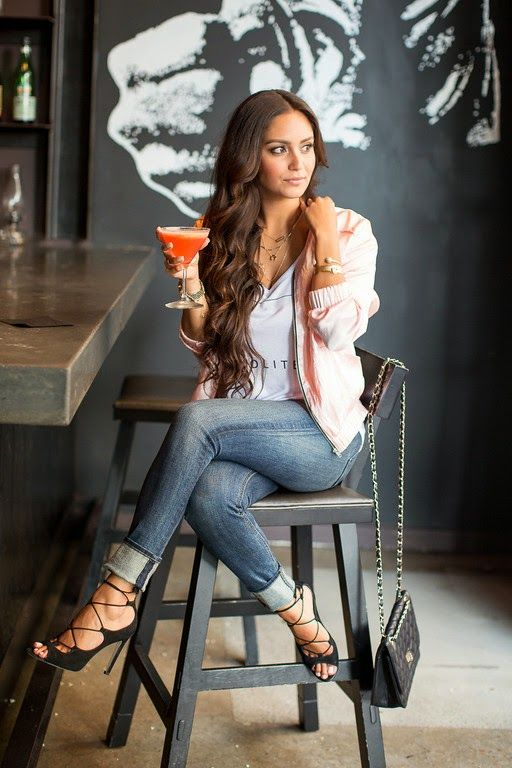 Vanessa Balli: Pink Lady Pink Jacket, Lace Up Heels, Skinny Jeans