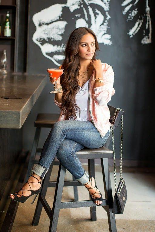 Vanessa Balli: Pink Lady Pink Jacket, Lace Up Heels, Skinny Jeans