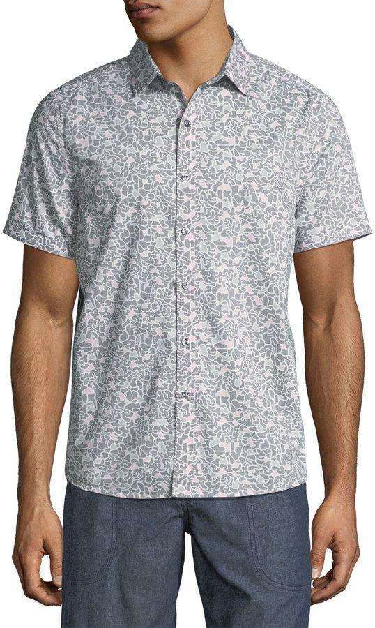 Michael Bastian Bubble Camo-Print Sport Shirt