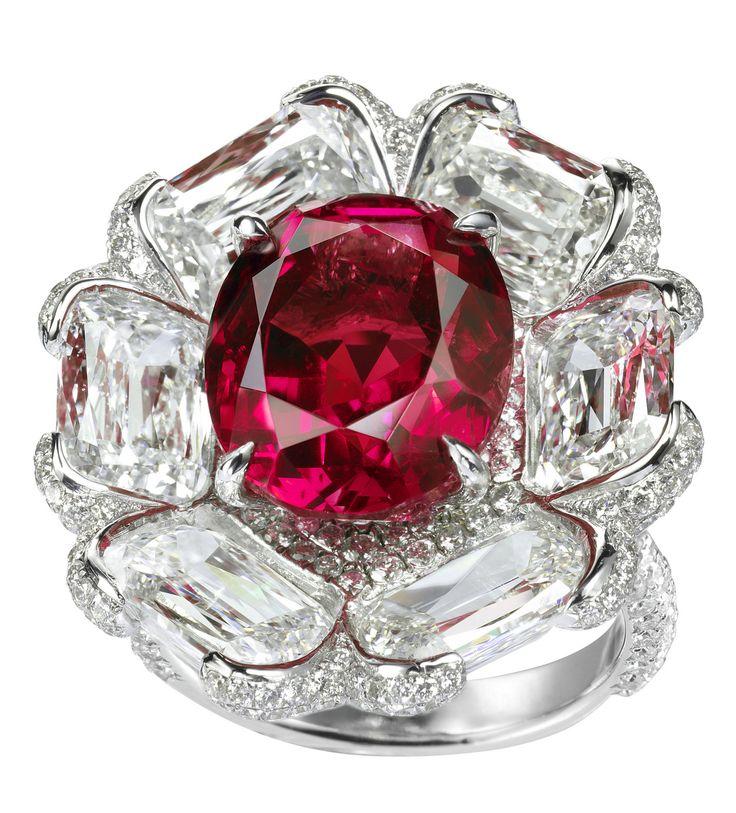 Non-heated Burmese ruby and diamond flower ring
