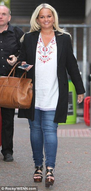 Getting ready: Jennifer Ellison made sure her hair was just so when she made an appearance...