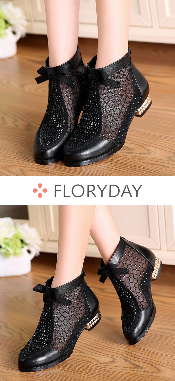 Hollow-out Real Leather Low Heel Shoes, hollow-out, shoes, boots, autumn shoes, …