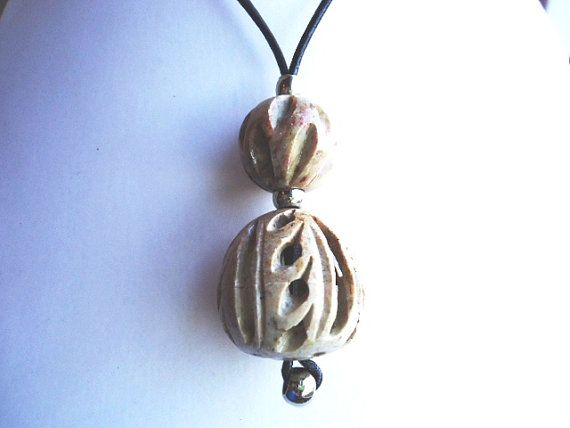 Soapstone Beige Pendant on Black Leather by JulieDeeleyJewellery.com, £4.99