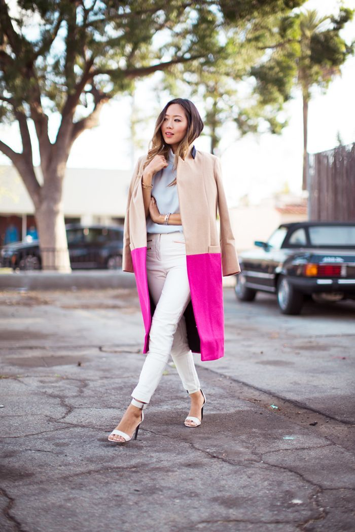 hot pink and nude coat with casual outfit