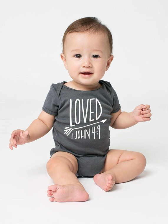 Christian Baby Scripture Onesie 1 John Bible by EmilyBurgerDesigns